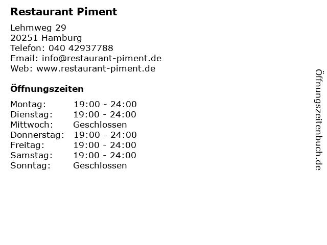 Restaurant Piment in Hamburg: Adresse und Öffnungszeiten