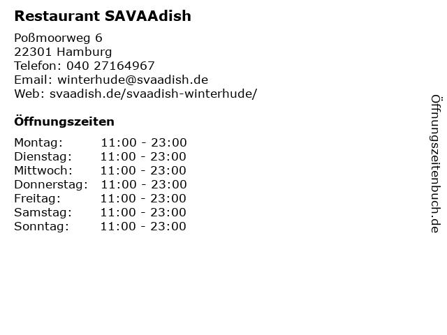 Restaurant SAVAAdish in Hamburg: Adresse und Öffnungszeiten