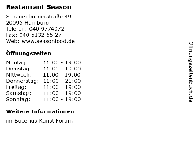 Restaurant Season in Hamburg: Adresse und Öffnungszeiten
