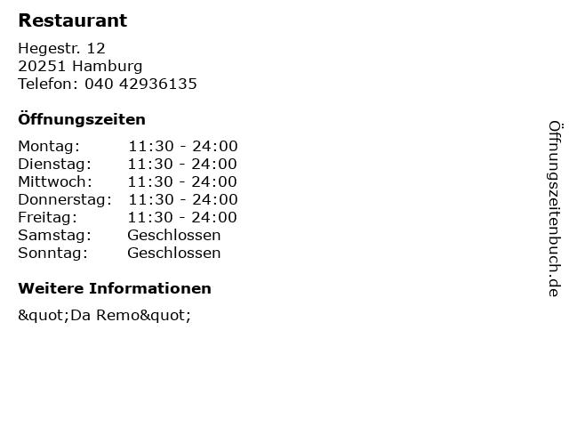 Restaurant in Hamburg: Adresse und Öffnungszeiten