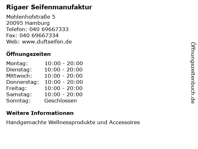 Rigaer Seifenmanufaktur in Hamburg: Adresse und Öffnungszeiten