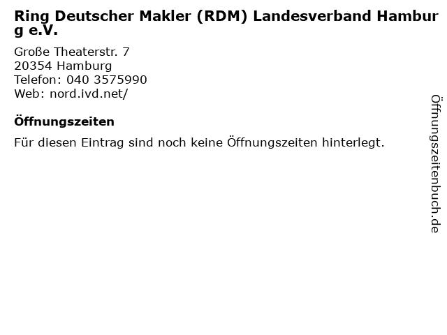 Ring Deutscher Makler (RDM) Landesverband Hamburg e.V. in Hamburg: Adresse und Öffnungszeiten