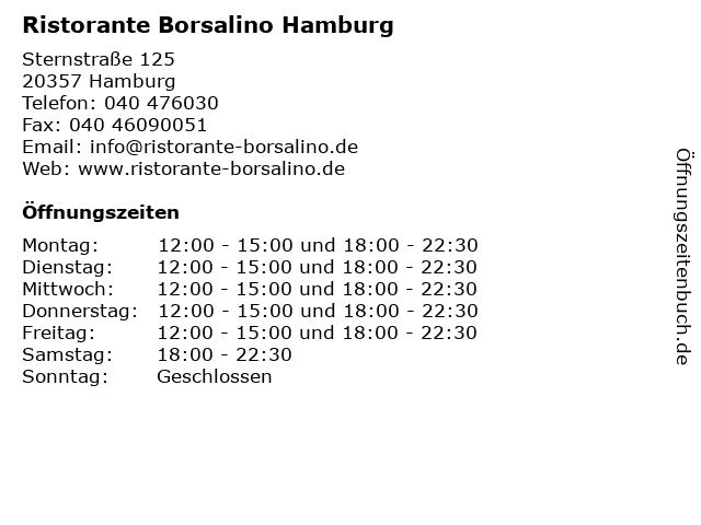 Ristorante Borsalino Hamburg in Hamburg: Adresse und Öffnungszeiten