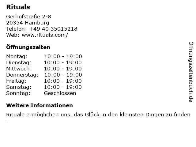 Rituals Cosmetics Germany GmbH in Hamburg: Adresse und Öffnungszeiten
