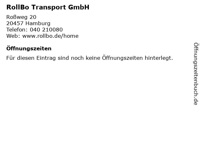 RollBo Transport GmbH in Hamburg: Adresse und Öffnungszeiten