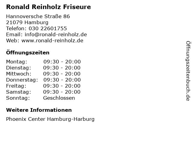 Ronald Reinholz Friseure in Hamburg: Adresse und Öffnungszeiten