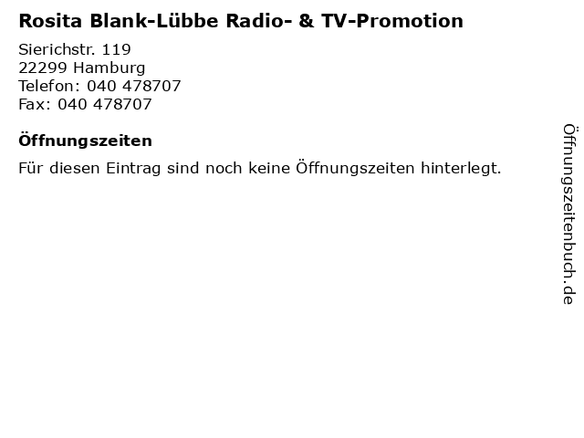 Rosita Blank-Lübbe Radio- & TV-Promotion in Hamburg: Adresse und Öffnungszeiten