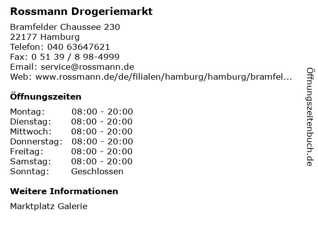 Dirk Rossmann GmbH in Hamburg: Adresse und Öffnungszeiten