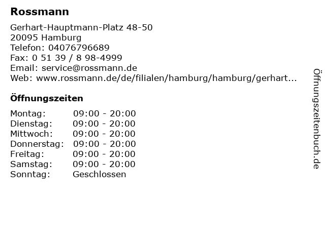 Rossmann in Hamburg: Adresse und Öffnungszeiten