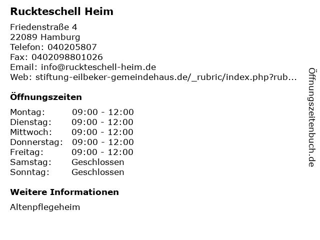 Ruckteschell Heim in Hamburg: Adresse und Öffnungszeiten