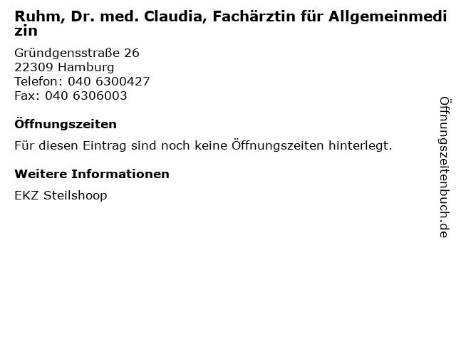 Ruhm, Dr. med. Claudia, Fachärztin für Allgemeinmedizin in Hamburg: Adresse und Öffnungszeiten