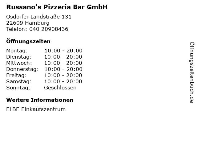 Russano's Pizzeria Bar GmbH in Hamburg: Adresse und Öffnungszeiten