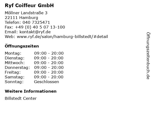 Ryf Coiffeur GmbH in Hamburg: Adresse und Öffnungszeiten