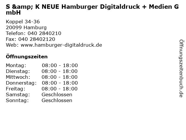 S & K NEUE Hamburger Digitaldruck + Medien GmbH in Hamburg: Adresse und Öffnungszeiten