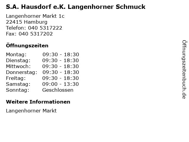 S.A. Hausdorf e.K. Langenhorner Schmuck in Hamburg: Adresse und Öffnungszeiten
