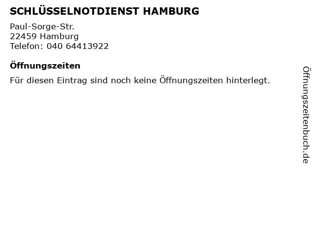 SCHLÜSSELNOTDIENST HAMBURG in Hamburg: Adresse und Öffnungszeiten