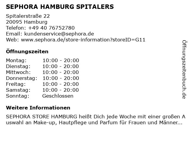 SEPHORA HAMBURG SPITALERS in Hamburg: Adresse und Öffnungszeiten