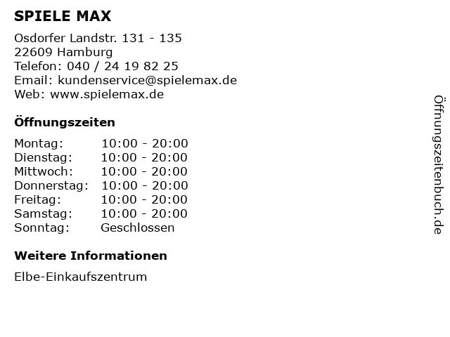 Spiele Max in Hamburg: Adresse und Öffnungszeiten