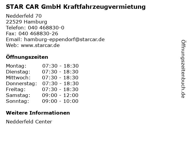 STAR CAR GmbH Kraftfahrzeugvermietung in Hamburg: Adresse und Öffnungszeiten