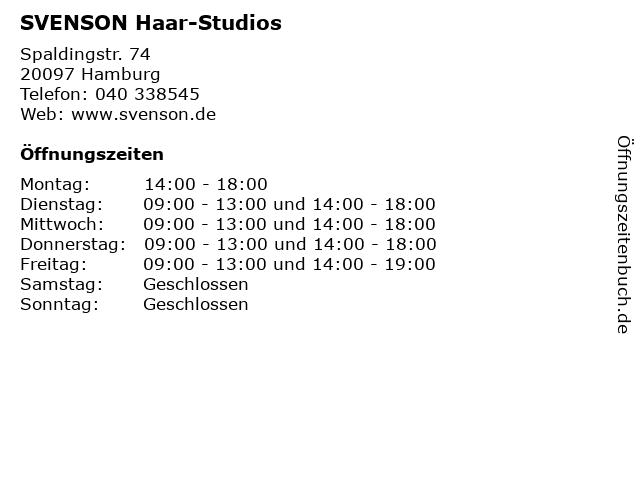ᐅ öffnungszeiten Svenson Haar Studios Spaldingstr 74 In Hamburg