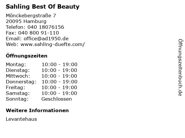 Sahling Best Of Beauty in Hamburg: Adresse und Öffnungszeiten