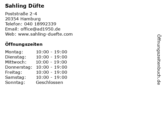 Sahling Düfte in Hamburg: Adresse und Öffnungszeiten