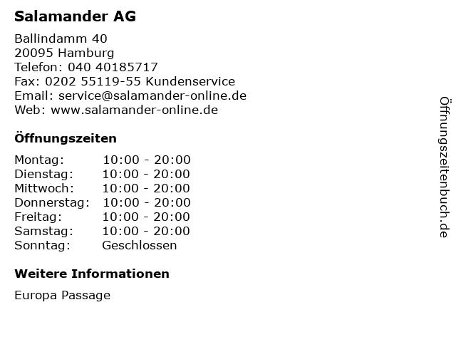 Salamander AG in Hamburg: Adresse und Öffnungszeiten