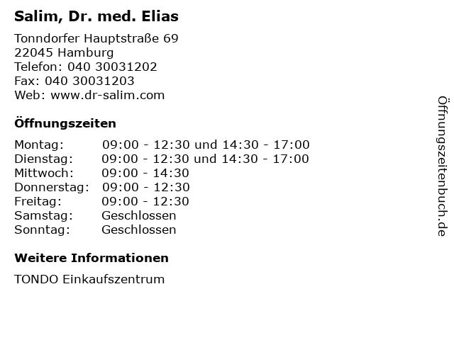 Salim, Dr. med. Elias in Hamburg: Adresse und Öffnungszeiten