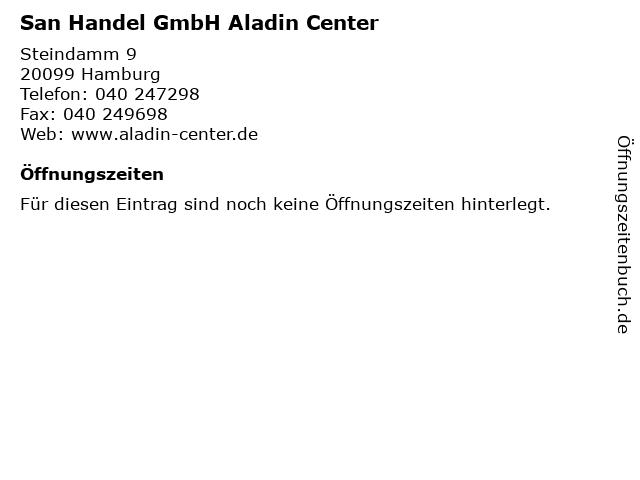 San Handel GmbH Aladin Center in Hamburg: Adresse und Öffnungszeiten