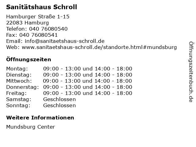 Sanitätshaus Schroll in Hamburg: Adresse und Öffnungszeiten