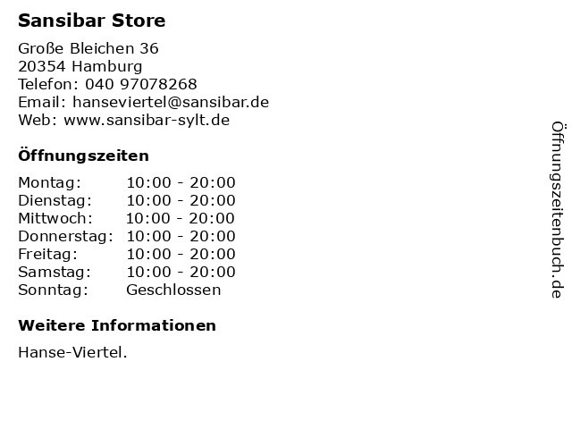 Sansibar Store in Hamburg: Adresse und Öffnungszeiten