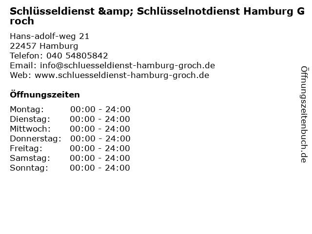 Schlüsseldienst & Schlüsselnotdienst Hamburg Groch in Hamburg: Adresse und Öffnungszeiten