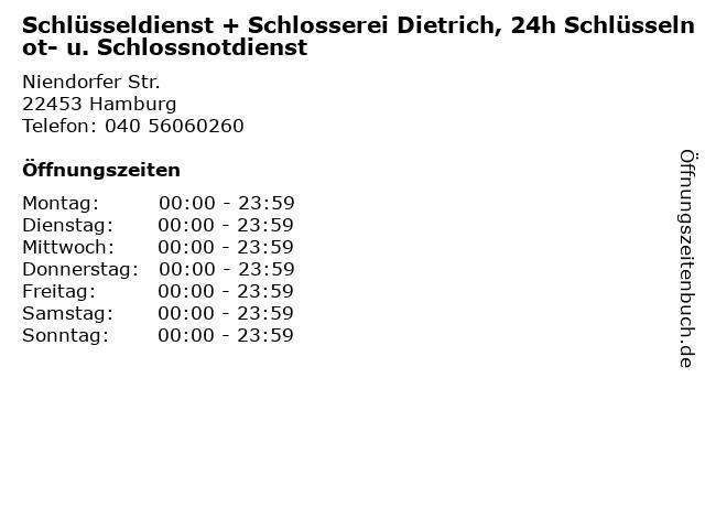 Schlüsseldienst + Schlosserei Dietrich, 24h Schlüsselnot- u. Schlossnotdienst in Hamburg: Adresse und Öffnungszeiten