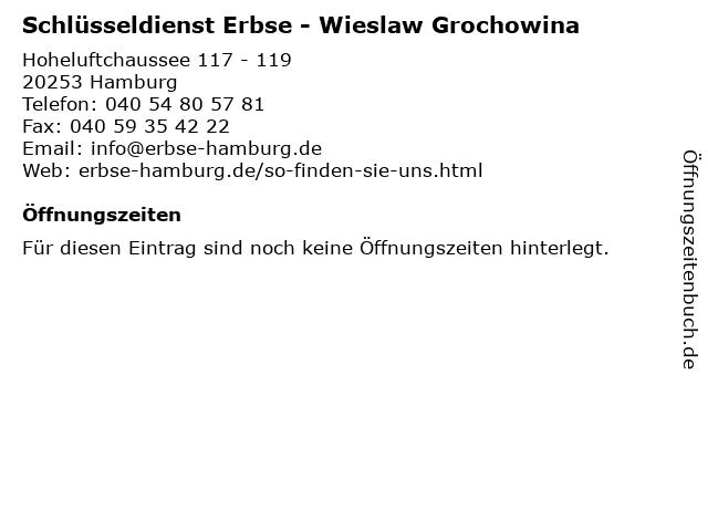 Schlüsseldienst Erbse - Wieslaw Grochowina in Hamburg: Adresse und Öffnungszeiten