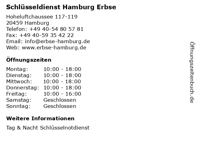 Schlüsseldienst Hamburg Erbse in Hamburg: Adresse und Öffnungszeiten