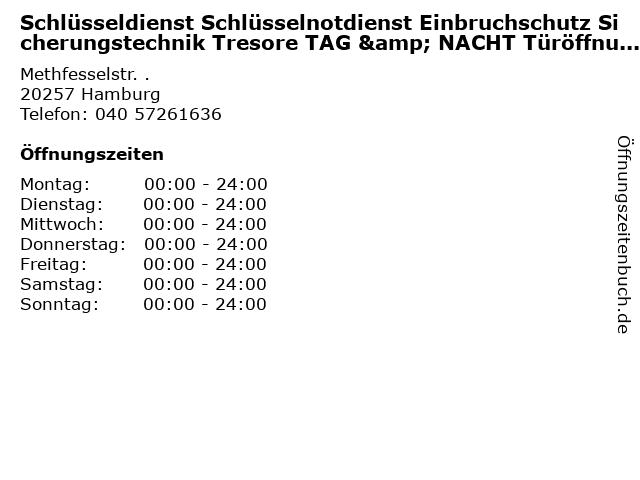 Schlüsseldienst Schlüsselnotdienst Einbruchschutz Sicherungstechnik Tresore TAG & NACHT Türöffnung e.K. in Hamburg: Adresse und Öffnungszeiten