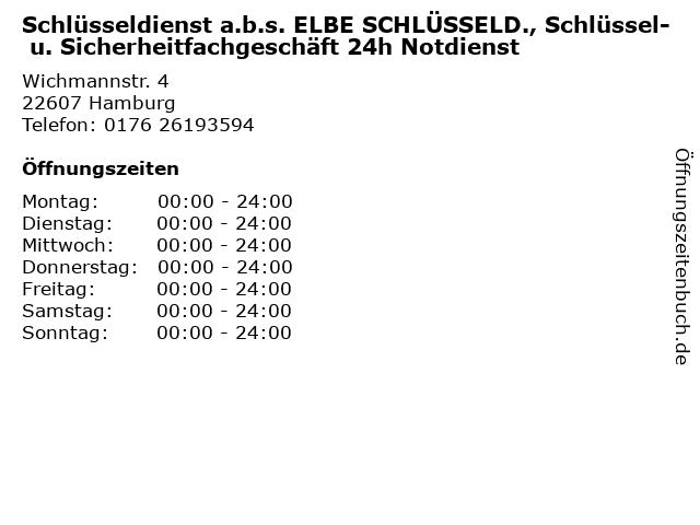 Schlüsseldienst a.b.s. ELBE SCHLÜSSELD., Schlüssel- u. Sicherheitfachgeschäft 24h Notdienst in Hamburg: Adresse und Öffnungszeiten