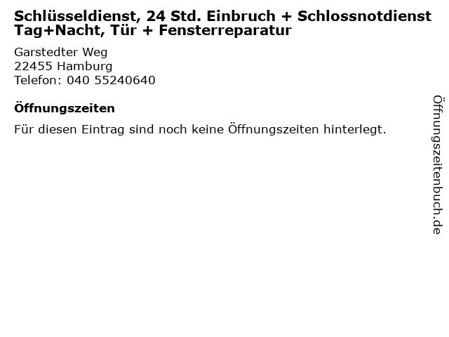 Schlüsseldienst, 24 Std. Einbruch + Schlossnotdienst Tag+Nacht, Tür + Fensterreparatur in Hamburg: Adresse und Öffnungszeiten