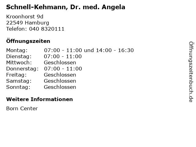 Schnell-Kehmann, Dr. med. Angela in Hamburg: Adresse und Öffnungszeiten