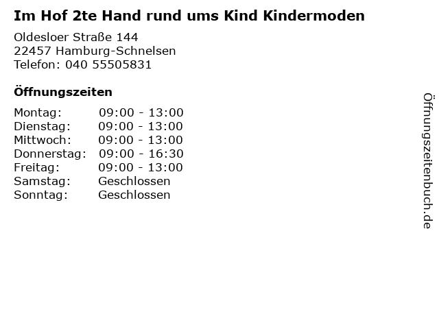 Im Hof 2te Hand rund ums Kind Kindermoden in Hamburg-Schnelsen: Adresse und Öffnungszeiten