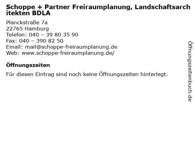 Schoppe + Partner Freiraumplanung, Landschaftsarchitekten BDLA in Hamburg: Adresse und Öffnungszeiten