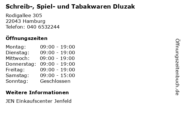 Schreib-, Spiel- und Tabakwaren Dluzak in Hamburg: Adresse und Öffnungszeiten