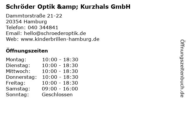 Schröder Optik & Kurzhals GmbH in Hamburg: Adresse und Öffnungszeiten