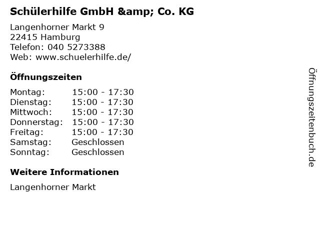 Schülerhilfe GmbH & Co. KG in Hamburg: Adresse und Öffnungszeiten