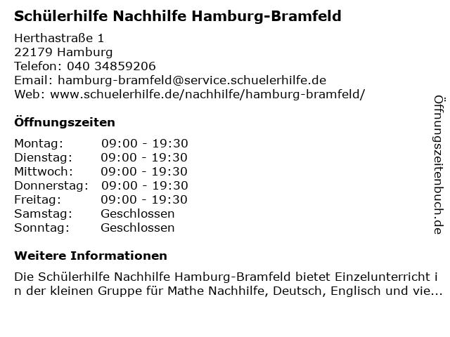 Schülerhilfe Nachhilfe Hamburg-Bramfeld in Hamburg: Adresse und Öffnungszeiten