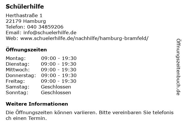 Schülerhilfe in Hamburg: Adresse und Öffnungszeiten