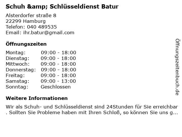 Schuh & Schlüsseldienst Batur in Hamburg: Adresse und Öffnungszeiten