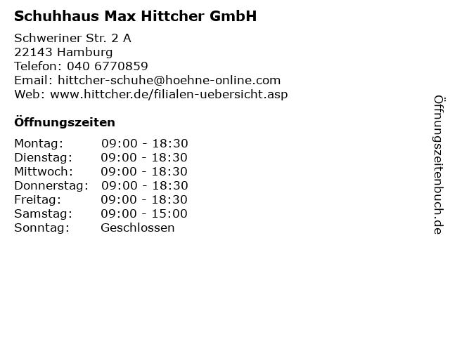 Schuhhaus Max Hittcher GmbH in Hamburg: Adresse und Öffnungszeiten