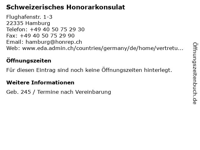 Schweizerisches Honorarkonsulat in Hamburg: Adresse und Öffnungszeiten
