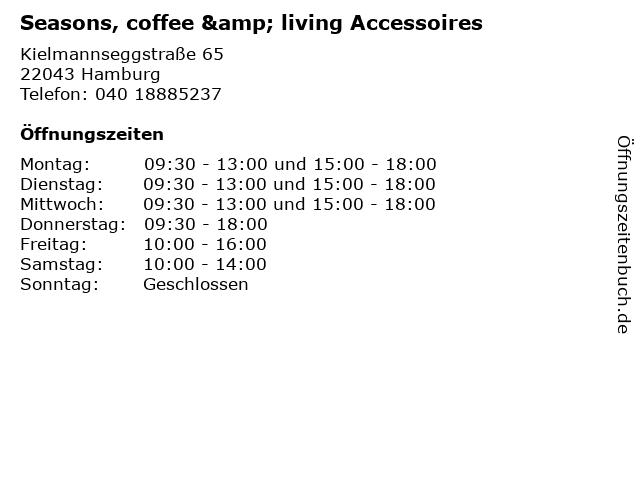 Seasons, coffee & living Accessoires in Hamburg: Adresse und Öffnungszeiten